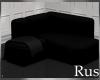 Rus Black Corner Couch