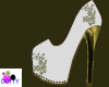 white n gold bride shoes