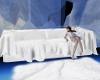 white fur sofa