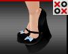 Blue Bow Wedge Heels