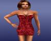 Red Rose Satin Dress