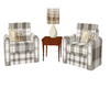 Brown/tan plaid chairs