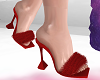 RED Fluffy Heels