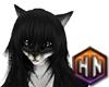 black white furry fox f