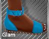 Teal Garden Flat Sandals