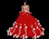 robe bal red fleur