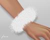 f. white fur cuffs