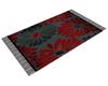 Blk n Red FlowerprintRug