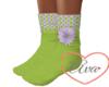 Green Flower Socks