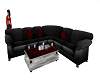Black,red,silver couch