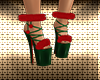 Red/Green Fur Shoes