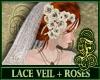 Lace Veil + White Roses