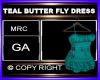 TEAL BUTTER FLY DRESS