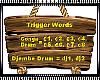 Drums Trigger Words