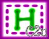 C2u letter H Sticker