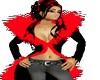emo red fur coat