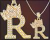 Gold Chain R Letter Fem