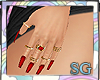 SG Nails Red + Rings