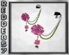 Pink Rose Chain Earrings