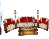 E red and white sofa set