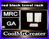 red black towel rack